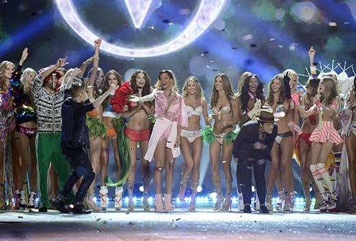 Bedazzled bras and half-clad circus acts: Welcome to the Victoria's Secret fashion show: Justin Bieber, Rihanna and Bruno Mars take a bow with the models