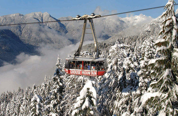 For the holidays, antlers and a red nose will be added to the Skyride that takes guests to the 3,700-foot summit of British Columbia's Grouse Mountain.