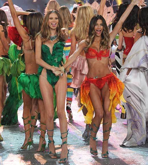 Bedazzled bras and half-clad circus acts: Welcome to the Victoria's Secret fashion show: The models show off post-show.