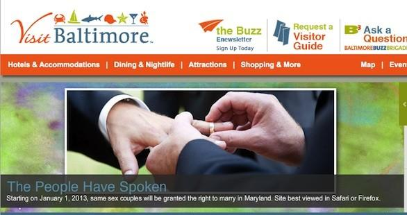 Tourism website Visit Baltimore's new page courts same-sex couples who might want to marry in the city.