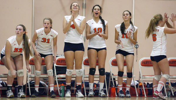 Pasadena Poly's girls' volleyball team cheers on their teammates during the CIF Southern Section Division II-A playoffs against La Quinta, which took place at Pasadena Poly on Thursday, November 8, 2012.