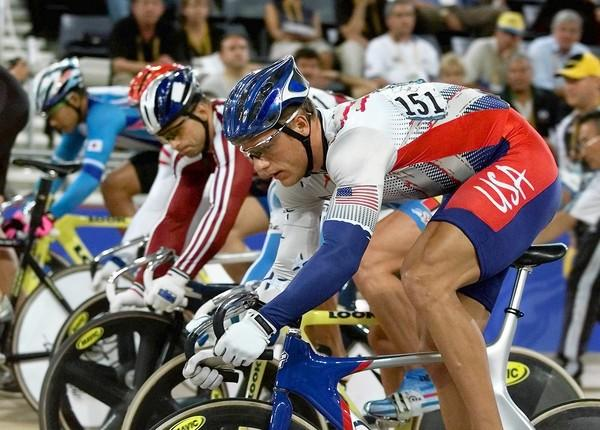 In the 2000 Olympic Games in Australia, Marty Nothstein (front) won a gold medal, thanks in large part to Dexter Baker's Air Products Developmental Cycling Program.