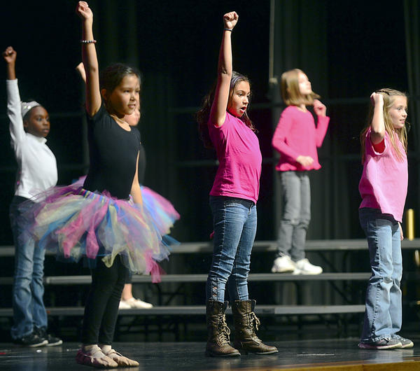 "Fourth-graders from Fountaindale Elementary School in Hagerstown dance to the song ""Don't Stop Believing"" Thursday during the 2012 Elementary Arts Festival at North Hagerstown High School. The event featured artwork, dance and choral performances by Washington County elementary school students."