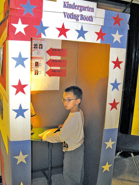 Zachary Wright, a student at Funkstown School for Early Childhood Education, recently voted at his school. The school conducted a voting exercise for the kindergarten students.