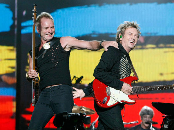 Bassist and lead singer Sting (L) and guitarist Andy Summers perform during The Police Live in Concert show in Tokyo February 13, 2008.