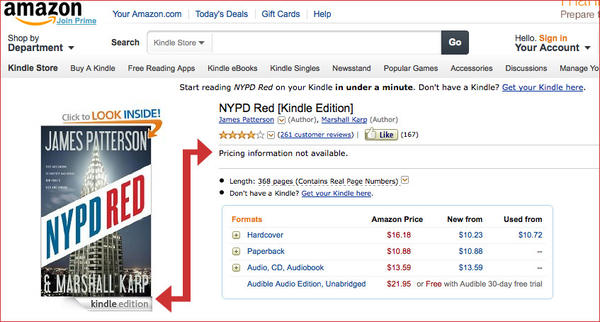 """A screenshot of Amazon with blocked e-book sales; the arrow shows that the Kindle edition of James Patterson's """"NYPD Red"""" cannot be purchased."""