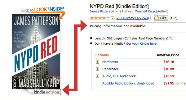 "A screenshot of Amazon with blocked e-book sales; the arrow shows that the Kindle edition of James Patterson's ""NYPD Red"" cannot be purchased."