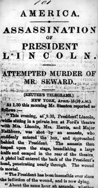 On April, 15, 1865: Reuter's reports the assassination of Abraham Lincoln, the 16th President of the United States of America.