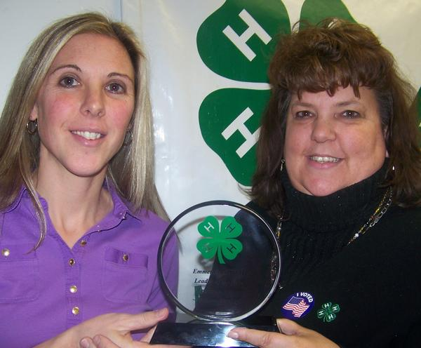 Becky Swiger (left) accepts the Emmet County 4-H Volunteer of the Year award from 4-H coordinator, Diane Brazier.