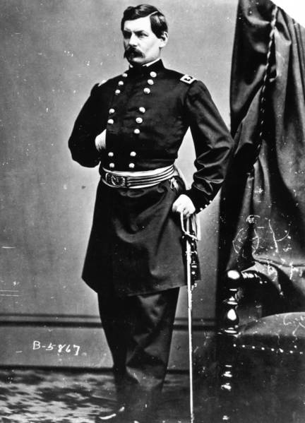 Union Gen. George McClellan was put in command of the Army of the Potomac in 1861. He frequently clashed with President Abraham Lincoln on war strategy. McClellan (1826 - 1885), was twice given command of the Union Army of the Potomac and twice relieved of his command due to disagreements over strategy with Lincoln. In 1864 he ran for President as the nominee of the Democratic Party but was defeated by Abraham Lincoln.