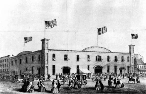 The Wigwam, at Lake Street and Wacker Drive, is where Republican delegates met in 1860 and nominated Abraham Lincoln for president. According to reports at the time, when Abraham Lincoln secured the nomination, the crowd went wild and a cannon on the roof was fired.