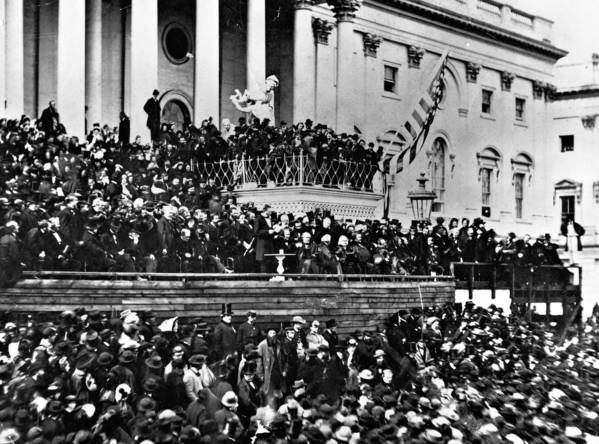 Abraham Lincoln speaks at his first inauguration on March 4, 1861 at the U.S. Capitol, which was still under construction, in Washington D.C.