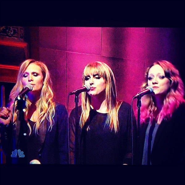 Sophie Dupin (left), of Petoskey, sings as part of a trio of backup vocalists on a recent Saturday Night Live episode.