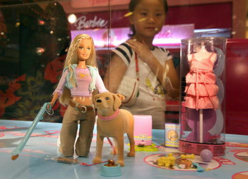 The US Consumer Product Safety Commission announced the recall of millions of toys manufactured by Mattel Inc., including the Barbie and Tanner play sets. According to the commission, the play sets' 'scooper' accessory has a small magnet that can come loose and if more than one magnet is swallowed they can attract each other and cause intestinal perforation or blockage, which can be fatal. (Photo by MARK RALSTON/AFP/Getty Images)