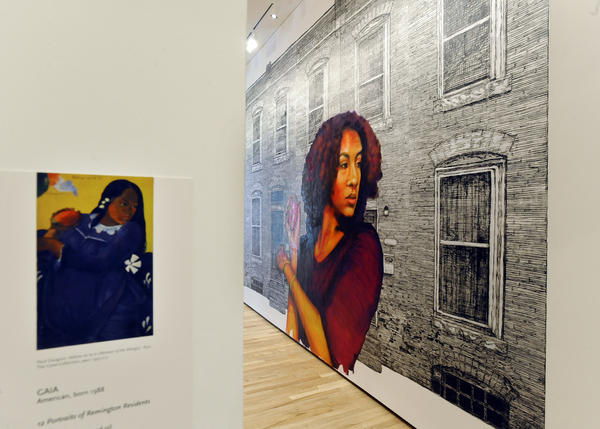 "A large-scale linoleum print titled ""Girl of the Mango,"" by artist Gaia, occupies a new wall at the BMA. ""Girl of the Mango"" was inspired by Paul Gauguin's 1892 painting ""Woman of the Mango"" (see version at left), which is in the BMA's modernist holdings."