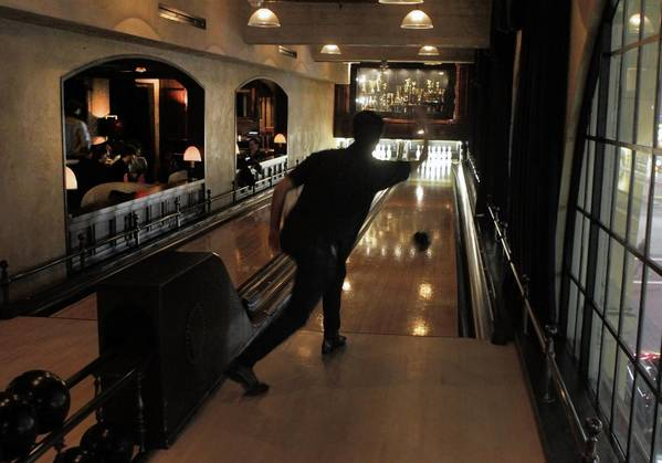 Two bowling lanes in the Spare Room in the Hollywood Roosevelt Hotel in Hollywood.