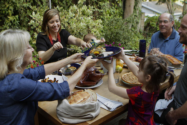 Thanksgiving with chefs Karen and Quinn Hatfield, children Bennett and Paige, and in-laws Larry and Linda Friedman at the Hatfields' home in Laurel Canyon.