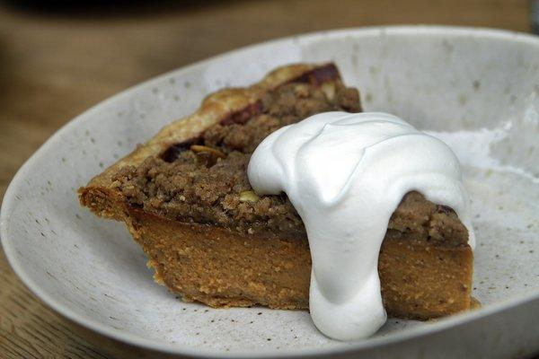 Karen Hatfield adds her own touch on a traditional pumpkin pie with brown-butter streusel and pepitas.