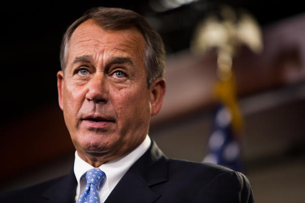 Speaker of the House John Boehner addresses the media during a news conference in the U.S. Capitol.