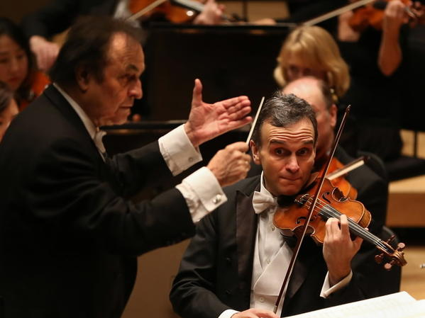 Conductor Charles Dutoit and violin soloist Gil Shaham perform with the Chicago Symphony Orchestra at Symphony Center on Thursday.