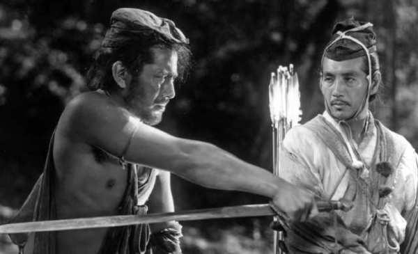 "Masayuki Mori as ""The man"" and Toshiro Mifune as ""The bandit"" in ""Rashomon."""
