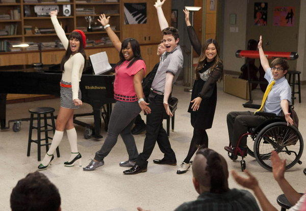 "The cast of popular TV show ""Glee"" in a recent episode."