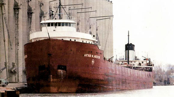 This is the Arthur M. Anderson as it appeared in 1975, which Ed Belanger helped navigate during the tragic storm in November of that year. The Anderson was following just behind the Edmund Fitzgerald when it sank in Lake Superior.