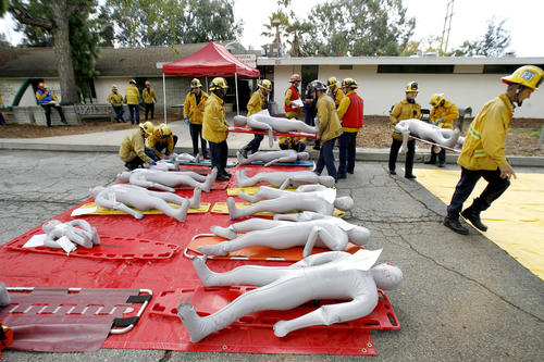 The Pasadena Fire Dept. held a Mass Casualty Incident Drill to help train area fire depts. at the Pasadena Civil Defense Center in Pasadena on Friday, Nov. 9, 2012.  The Glendale Fire Dept. along with Alhambra, So. Pasadena and Pasadena took part in the drill.