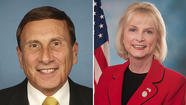 U.S. Rep. John Mica, left, defeats Sandy Adams