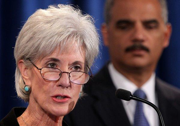 Health and Human Services Secretary Kathleen Sebelius speaks at a news conference.
