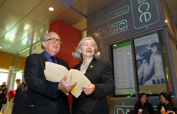 Isaiah Sheffer, artistic director of Symphony Space, with Executive Vice President Joanna Cossa at its 2002 reopening. Symphony Space announced on its website Friday that Sheffer, 76, has died.