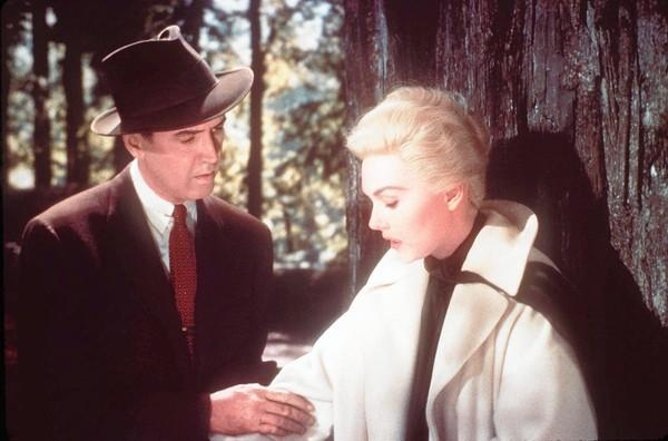 "James Stewart and Kim Novak in 1958's ""Vertigo."""