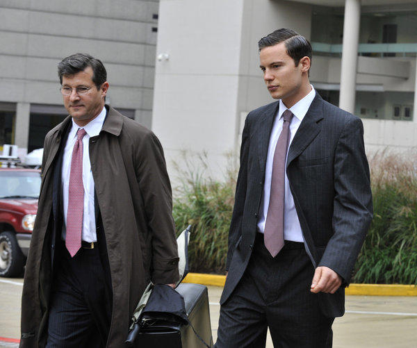 Jason James Savedoff (Right) leaving the Federal Courthouse, with his lawyer, Larry Nathans (Left). The younger of the two accused historic document thieves pleads guilty in federal court, and reveals details about the heist, as well as the relationship between Savedoff, an aspiring model, and his mentor, Barry Landau. Savedoff is pictured leaving the Federal Courthouse in Baltimore.