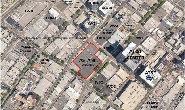 The parking lots purchased by developer Sonny Astani in downtown Los Angeles are outlined in red.