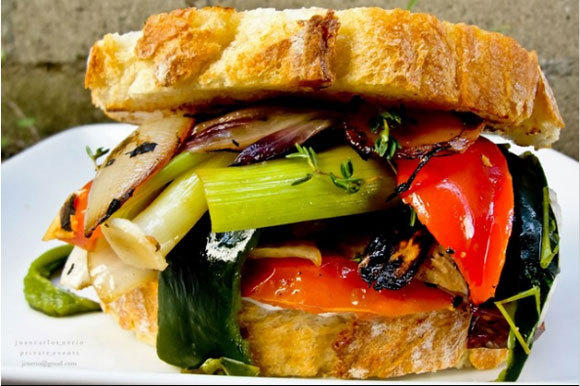 Roasted vegetable sandwich.