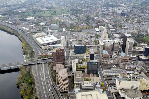 Aerial view of Downtown Hartford.
