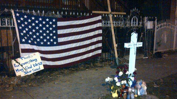 "Outside of the home where Chicago Firefighter Herbert ""Herbie"" Johnson was killed."
