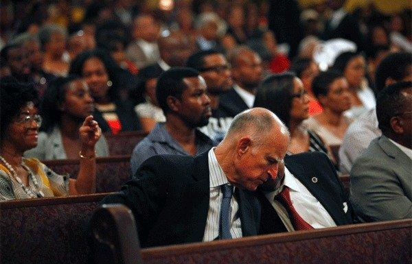 Gov. Jerry Brown spoke about Proposition 30 while visiting Los Angeles-area churches this week.