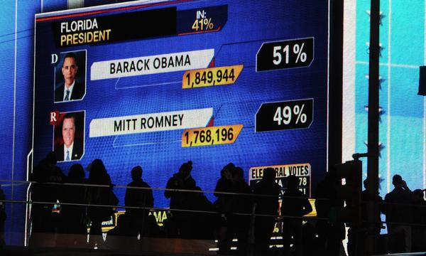 People watch large screens in Times Square as results in the 2012 presidential election are broadcast.