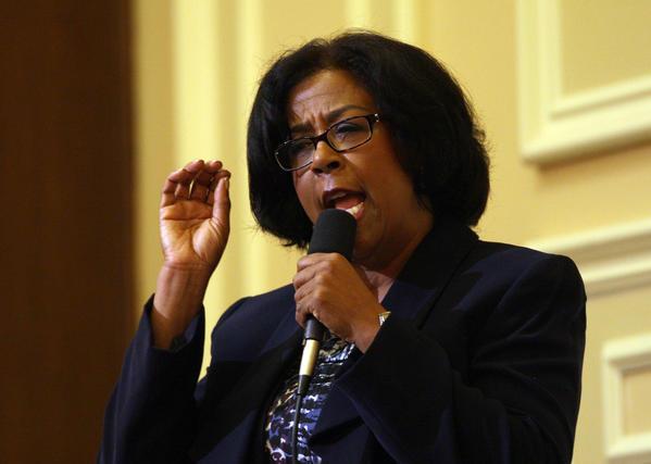 Los Angeles mayoral candidate Jan Perry speaks during a candidate debate in Hollywood.