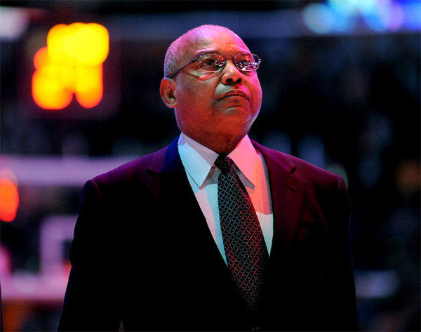 Bernie Bickerstaff listens to the National Anthem prior to his debut as the Lakers interim head coach.