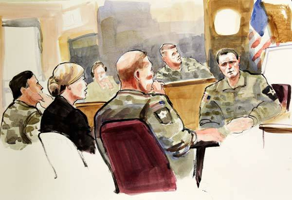 A photograph of a courtroom sketch by artist Lois Silver shows U.S. Army Staff Sgt. Bales and his defense attorneys listen to witness Sgt. McLaughlin testify at Bale's military Article-32 Investigation, in Washington.
