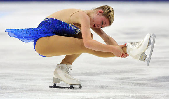 Gracie Gold in Saturday's free skate at the Rostelecom Cup.  (Yuri Kadobnov / Getty Images)