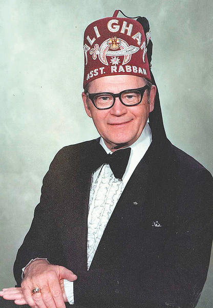 "William ""Bill"" Renner is seen in this photo wearing his Ali Ghan Shriners hat."