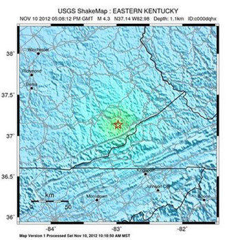 A U.S. Geological Survey-provided map illustrates Saturday's 4.3-magnitude quake in Kentucky.