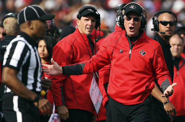 Texas Tech Coach Tommy Tuberville questions a call during the Red Raiders' game against Texas last week.