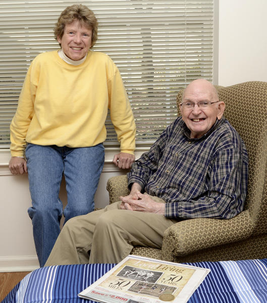 "Donna Aycoth and William ""Buzz"" Sawyer visit often in his room at Somerford Place south of Hagerstown."