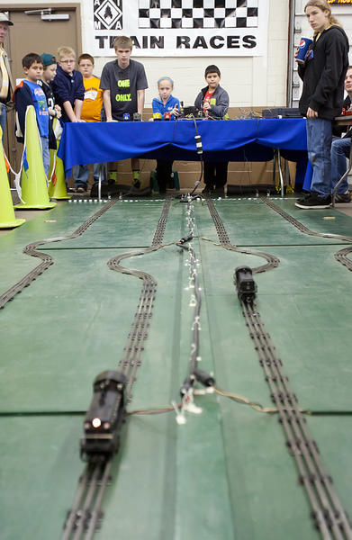 (Center) Angelina Lenzer, 9, of Schnecksville and Tyler Reuter, 9, of Northampton race their own trains during the Annual First Frost Train meet at the Allentown Fairgrounds Agri-Plex on Saturday. The Meet has become a Lehigh Valley tradition signaling the beginning of the holiday season. The Train Meet continues on Sunday from 9 a.m. to 3 p.m. Tickets are $7 and free to children 12 and under.