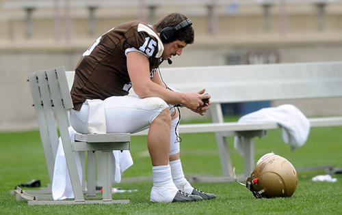 Lehigh's QB Michael Colvin (15) collects his thoughts as time runs out in their 35 - 24 lose to Colgate for the Patriot League Championship football game Saturday afternoon.