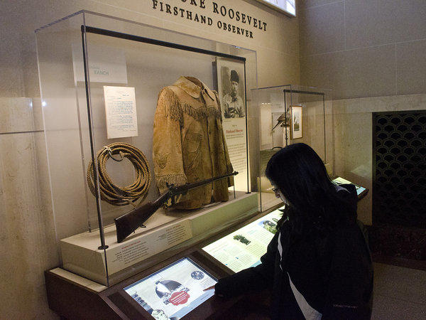 Theodore Roosevelt's Buckskin Jacket is pictured in the Theodore Roosevelt Memorial Hall of North American Mammals inside the American Museum of Natural History in New York City on Thursday, November 1, 2012.
